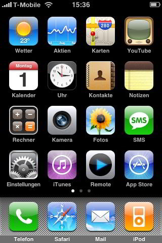 iPhone 3G Start-Bildschirm